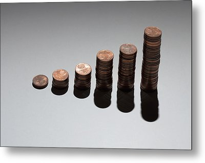 Rows Of Stacks Of Five Cent Euro Coins Increasing In Size Metal Print
