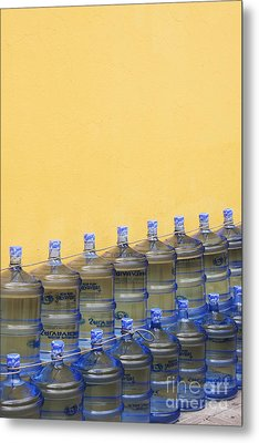 Rows Of Water Jugs Metal Print by Jeremy Woodhouse