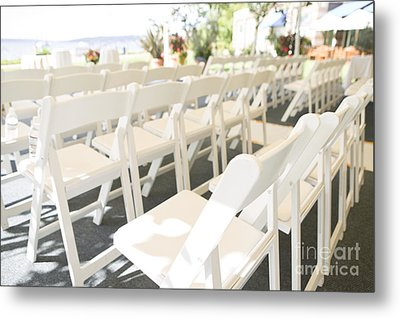 Rows Of White Folding Chairs Metal Print by Ned Frisk