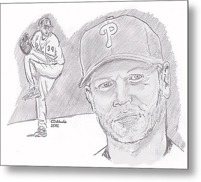 Metal Print featuring the drawing Roy Halladay by Chris  DelVecchio