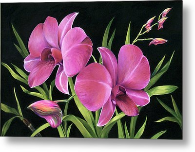 Metal Print featuring the painting Royal Pink Orchids by Nancy Tilles