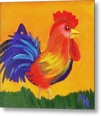 Metal Print featuring the painting Royal Rooster by Margaret Harmon