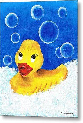 Metal Print featuring the painting Rubber Ducky by Sarah Farren