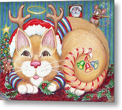 Metal Print featuring the drawing Rudolph The Pink Nosed Dear Cat by Dee Davis