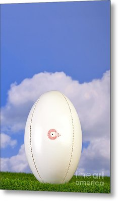 Rugby Ball Tee'd Up On Grass Metal Print by Richard Thomas