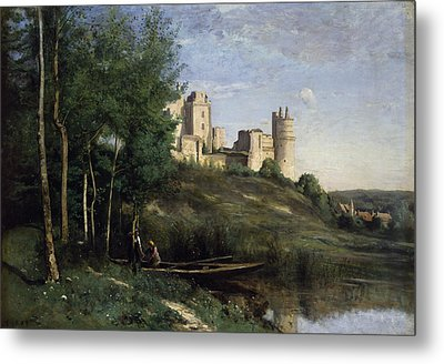 Ruins Of The Chateau De Pierrefonds Metal Print by Jean Baptiste Camille Corot