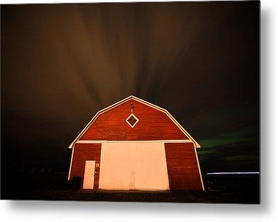 Rural Barn Night Photograhy Metal Print by Mark Duffy