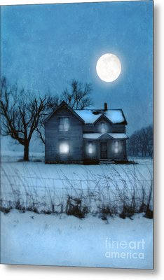 Rural Farmhouse Under Full Moon Metal Print by Jill Battaglia