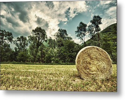 Rural Landscape With Hay Bale Metal Print
