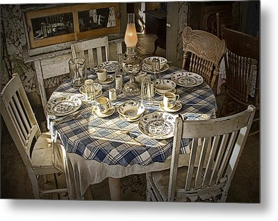 Rural Table Setting For Four No.3121 Metal Print