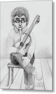 Russian Guitarist Black And White Art Eyeglasses Long Curly Hair Tie Chin Shirt Trousers Shoes Chair Metal Print by Rachel Hershkovitz