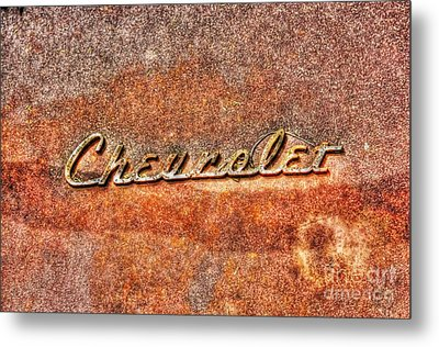 Rusted Antique Chevrolet Logo Metal Print by Dan Stone
