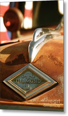 Rusted Antique Diamond Car Brand Ornament Metal Print by ELITE IMAGE photography By Chad McDermott