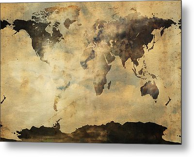 Rusted Metal World Map Metal Print by Stephen Walker