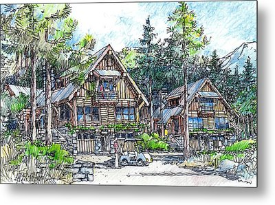 Metal Print featuring the drawing Rustic Cabins by Andrew Drozdowicz