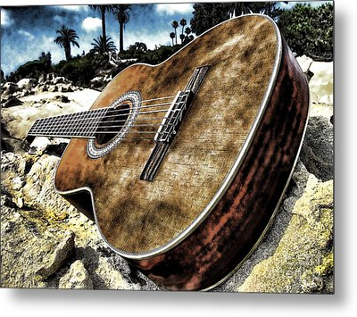 Metal Print featuring the photograph Rustic Guitar by Jason Abando