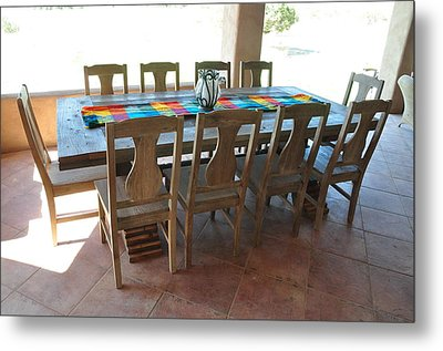 Rustic Table For Outside Living Room Metal Print by Thor Sigstedt