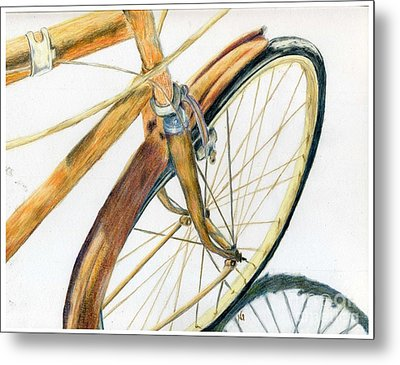 Rusty Beach Bike Metal Print