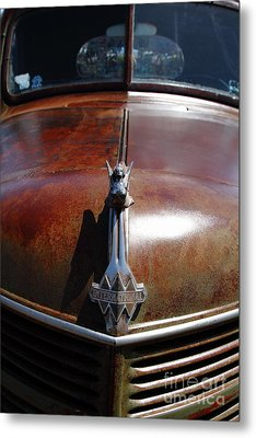 Rusty Old 1935 International Truck Hood Ornament. 7d15504 Metal Print by Wingsdomain Art and Photography