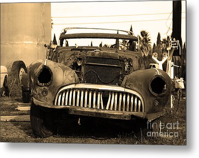 Rusty Old American Car . 7d10343 . Sepia Metal Print by Wingsdomain Art and Photography
