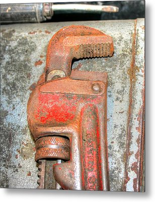 Rusty Pipe Wrench Metal Print by Ester  Rogers