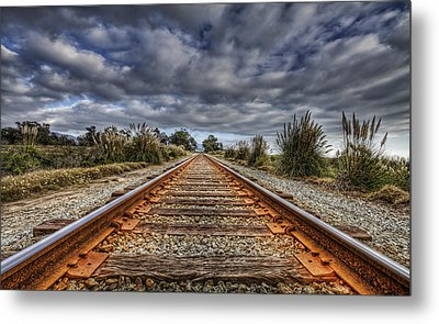 Rusty Rail Line And Fog Clouds Metal Print by Lachlan Kay