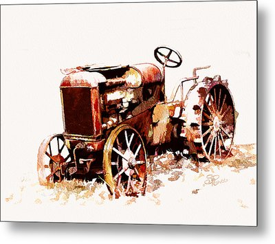 Rusty Tractor In The Snow Metal Print