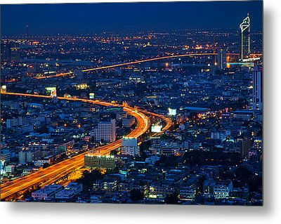 S Curve At Bangkok City Night Scene Metal Print by Arthit Somsakul