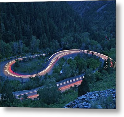 S-curve Lights Metal Print by Ben Harvey Photography