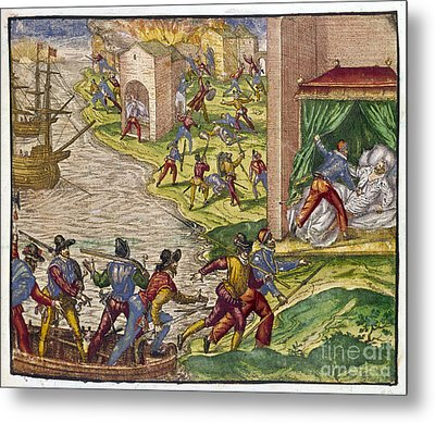 Sack Of Cartagena, C1544 Metal Print by Granger