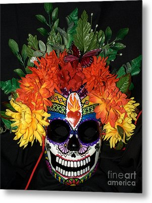 Sacred Heart Sugar Skull Mask Metal Print by Mitza Hurst