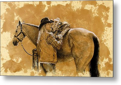 Saddled Up Metal Print by Debra Jones