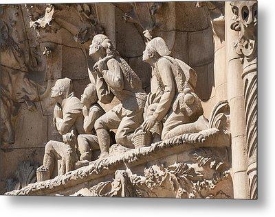 Sagrada Familia Barcelona Nativity Facade Detail Metal Print by Matthias Hauser