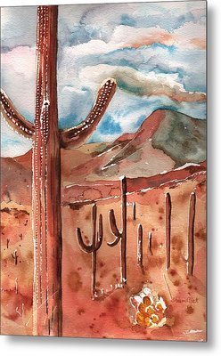Metal Print featuring the painting Saguaro Cactus by Sharon Mick