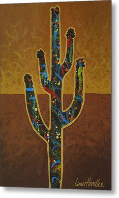 Metal Print featuring the painting Saguaro Gold by Lance Headlee