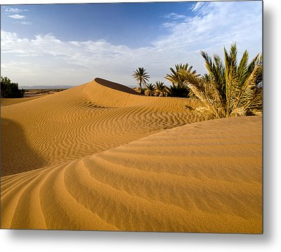 Sahara Desert At M'hamid, Morocco, Africa Metal Print by Ben Pipe Photography