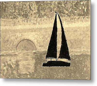 Sail In Sepia Sea Metal Print by Sonali Gangane