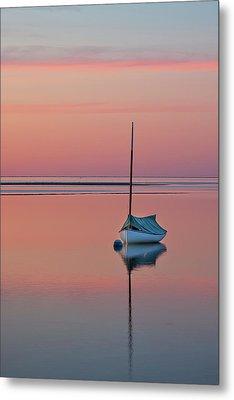 Sailboat And Buoy At Sunset Metal Print