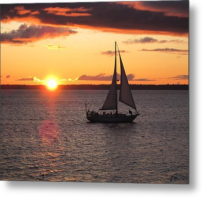 Metal Print featuring the photograph Sailboat At Sunset by Karen Molenaar Terrell