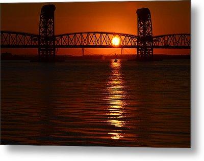 Metal Print featuring the photograph Sailboat Bridges Sunset by Maureen E Ritter