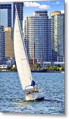 Sailboat In Toronto Harbor Metal Print by Elena Elisseeva