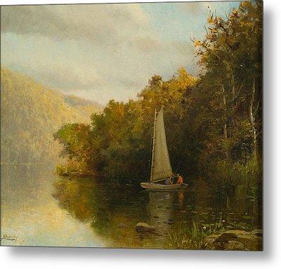Sailboat On River Metal Print by Arthur Quarterly