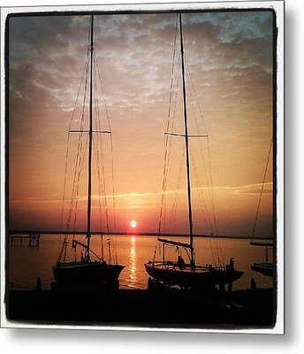 Sailboats In The Sunset Metal Print by Dustin K Ryan