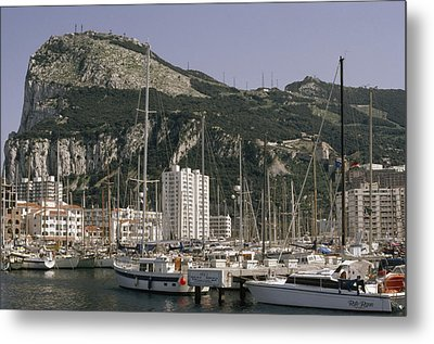 Sailboats Moored In Gibraltar Bay Metal Print by Lynn Abercrombie
