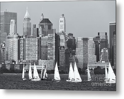 Sailboats On The Hudson V Metal Print by Clarence Holmes