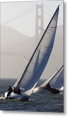 Sailboats Race On San Francisco Bay Metal Print by Skip Brown
