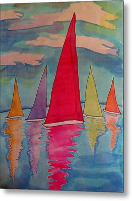 Sailboats Metal Print by Yvonne Feavearyear