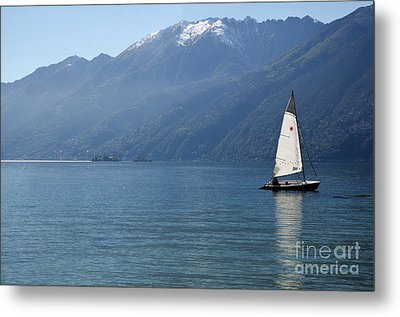 Sailing Boat And Mountain Metal Print by Mats Silvan
