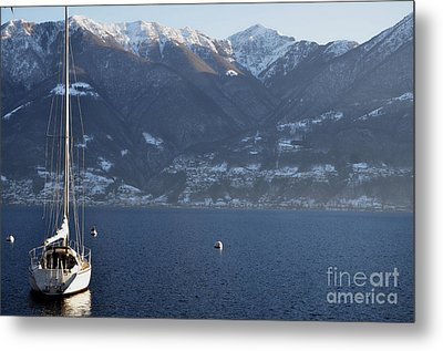 Sailing Boat On A Lake Metal Print by Mats Silvan