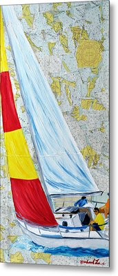 Sailing From The Charts Metal Print by Michael Lee